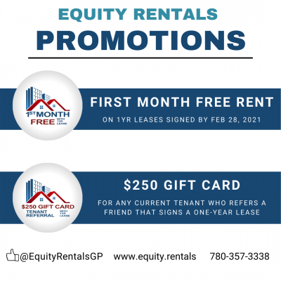 Equity Rentals promotions free rent $250 gift card